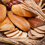 Bread and wheat. Food background. royalty free stock image
