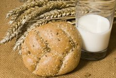 Bread wheat and milk. On the table Royalty Free Stock Photography