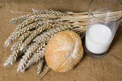 Bread wheat and milk. On the table Royalty Free Stock Photos