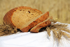 Bread and wheat outdoors Stock Images