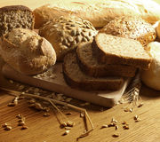 Bread wheat and rolls Royalty Free Stock Photos