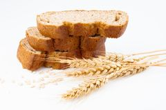 Bread and wheat spike. On white background royalty free stock photo
