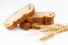 Bread and wheat spike. On white background stock photography