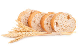 Bread with wheat. On white background stock photography