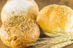 The bread and wheat on the wood background, warm toning, selective f Stock Photos