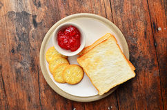 Bread on white dish. Bread and jam on white dish Royalty Free Stock Images