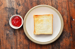 Bread on white dish. Bread and jam on white dish Royalty Free Stock Photos