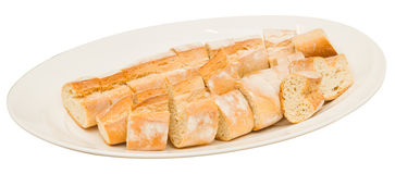 Bread on white plate Stock Photography