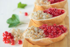 Bread with white and red currants Stock Photo