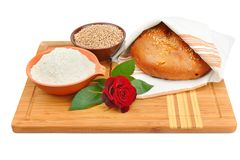 Bread, grain and flour isolated on white background. Royalty Free Stock Images