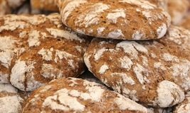 Bread with wholemeal flour baked in the wood burning oven Stock Image