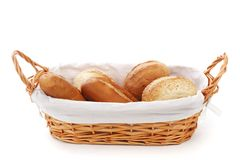 Bread in wicker basket Stock Images