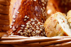 Bread in the wicker basket Royalty Free Stock Images