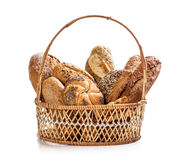 Bread in wicker basket Royalty Free Stock Photography