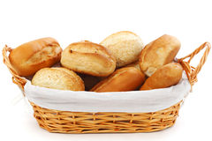 Bread in wicker basket Royalty Free Stock Images