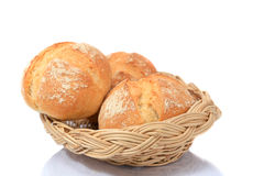 Bread in wicker basket isolated on white Royalty Free Stock Photography