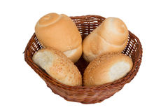 Bread in a wicker basket isolated on white background Royalty Free Stock Photography