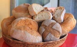 Bread in the wicker basket. Some bread in the wicker basket stock photo
