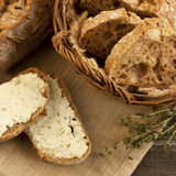 Bread  in wicker basket  and toasted Stock Image