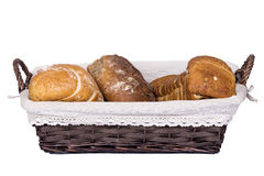 Bread in a wicker basket Royalty Free Stock Photo