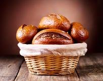 Bread in wicker basket Stock Photos
