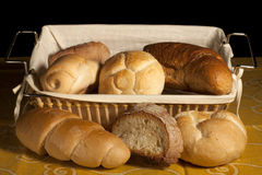 Bread in a wicker basket on a yellow tablecloth Royalty Free Stock Photography