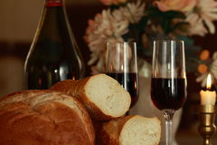 Bread wine Royalty Free Stock Photos