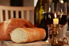Bread wine Royalty Free Stock Photography
