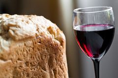 Bread and wine Royalty Free Stock Images