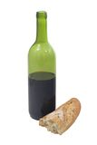Bread and wine. Bread and bottle of wine royalty free stock image