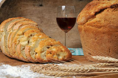 bread and wine Stock Image