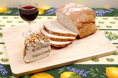 Bread,wine and cheese Royalty Free Stock Images