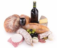 Bread,wine,cheese and sausage Stock Photos