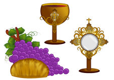 Bread and wine. Gold Monstrance bread and wine illustration isolated Royalty Free Stock Photography