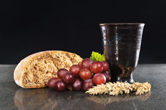 Bread and wine. For sacrament or communion Royalty Free Stock Image