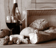 Bread and Wine (Sepia toned) Royalty Free Stock Images