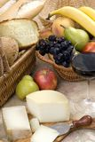 Bread and Wine Series with fruit and cheese Stock Photography