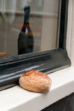 Bread and wine. Still life. Amsterdam street Stock Photography