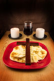 Bread, Wine, Two Candles and Cross Royalty Free Stock Photos