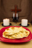 Bread, Wine, Two Candles and Cross Stock Image