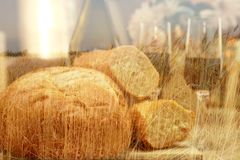 Bread wine wheat field hot sun Royalty Free Stock Photography