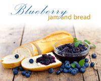Bread With Blueberry Jam Stock Image