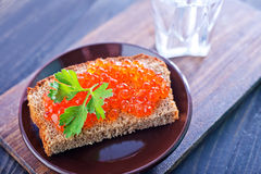 Bread With Caviar Stock Images