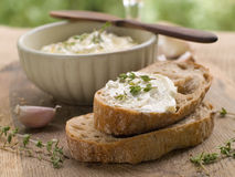 Bread With Cheese Dip Royalty Free Stock Photography