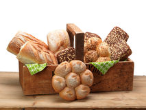 Bread in a wood box. Selection of wheat and rye bread in a wooden box Royalty Free Stock Photos