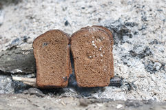 Bread on the wood grill Royalty Free Stock Images