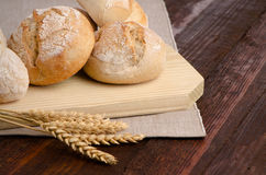 Bread on wood table Stock Photography