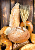 Bread on a wooden table Stock Photo