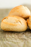 Bread on wooden table close up Stock Photos