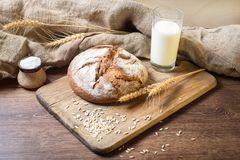 Bread on wooden table Royalty Free Stock Photos